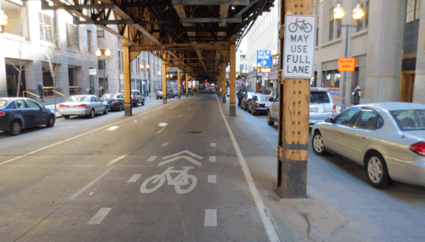 Bicycle Priority Lane on Wells Street