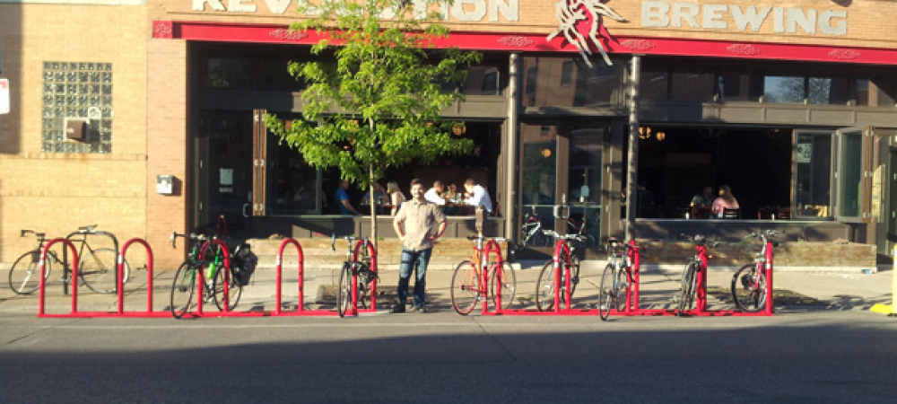 Bike Parking Corral at Revolution Brewing