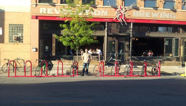 Bike Parking Corral at Revolution Brewing