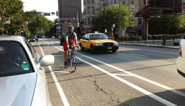 Buffer Protected Bike Lane on Wells Street